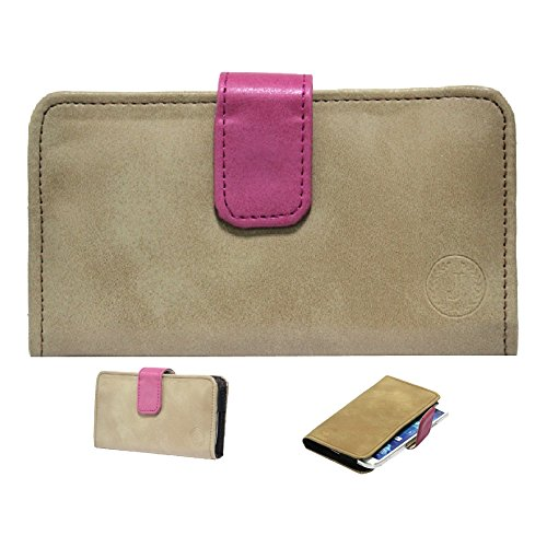 Jo Jo A8 Nillofer Leather Carry Case Cover Pouch Wallet Case For XOLO Q3000 Tan Pink  available at amazon for Rs.295