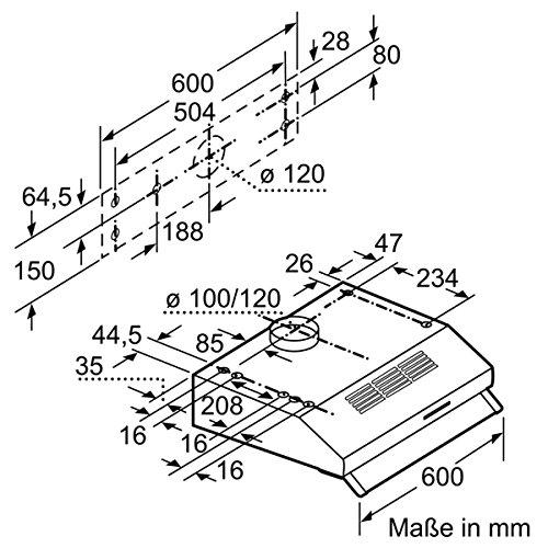 Neff DEB1612N (D16EB12N0) / Unterbauhaube / 60cm / Edelstahl / Wahlweise Abluft- oder Umluftbetrieb -
