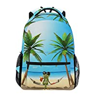 Hunihuni Beach Frog Durable Backpack College School Book Shoulder Bag Daypack for Boys Girls Man Woman