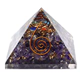 Healing Crystals India Large Amethyst Orgonite Pyramid, Orgone Energy Generator for Healing and EMF protection Power Mai
