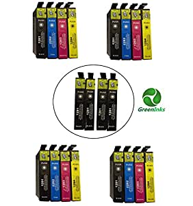 20 Inks (8x T1281 4x T1282 4x T1283 4x T1284) Multipack 4 full Set + 4 extra black T1285 printing Ink Cartridges compatible for epson stylus S22 SX125 SX130 SX420W SX425W SX430W SX438W SX440W SX445W & OFFICE BX305F BX305FW Plus printers