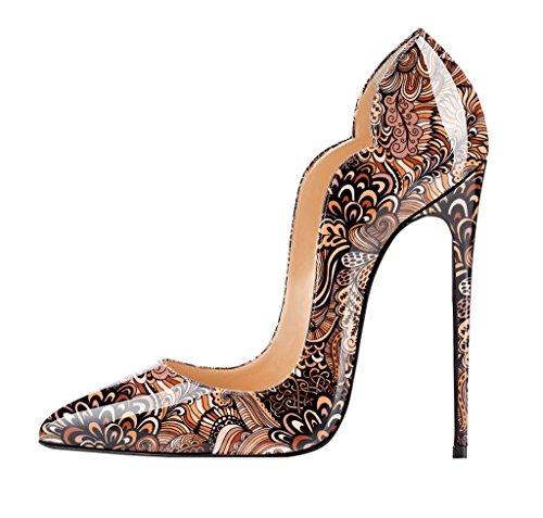 EDEFS Femme Escarpins Bohémien Style Sexy Talon Aiguille 12 CM Brillant Chaussures Fête Club Soiree Marron