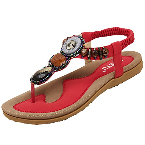 Oasap Boho Rhinestones Embellishment Y-Strap Thong Sandals For Women Rosso