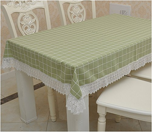 Preisvergleich Produktbild Jhxena Grid Tischtuch Rechteckig Baumwolle Speisen Tischdecken,, Grün 140*190 Cm