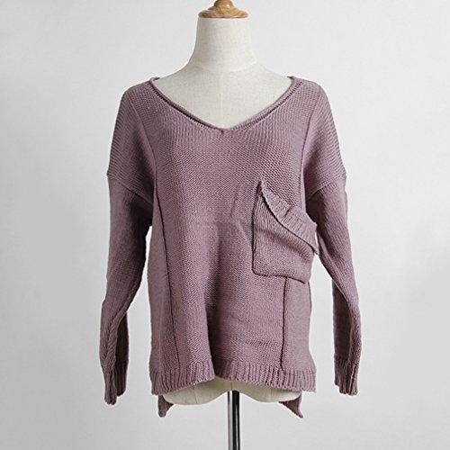 Yinew Damen Openwork Jacke Frauen Wickeln V-Ausschnitt Taschen Pullover Damen Pullover Strickjacke