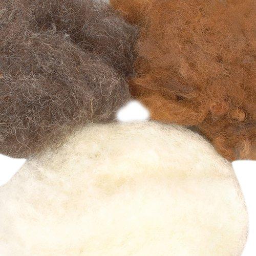 EFCO 50 g Wolle zum Filzen in Natur-Assorted