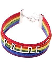 """ISHOW LGBT arc en ciel Multicolore """"PRIDE"""" FIERTÉ Cuir Suède Corde Tisser Chaud Bijoux Lesbienne Gai Brin Bracelet Pour Hommes Femmes"""