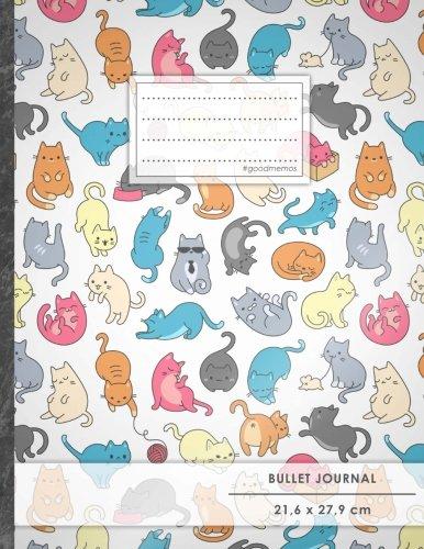Bullet Journal A4-Format, 100 Seiten, Soft Cover, Register, Verückte Katzen Original #GoodMemos Dot Grid Notebook Perfekt als Tagebuch, Zeichenbuch, Kalligraphie Buch