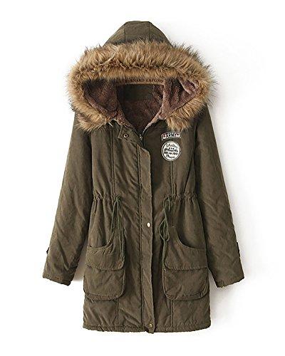 Missmao donne giacca lungo parka con cappuccio di pelliccia ecologica coulisse cappotto calda maniche lunghe verde ejército xl