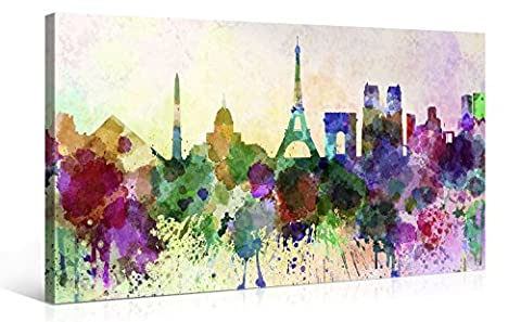 Large Canvas Print Wall Art – Paris in Abstract Watercolour Style - 100x50cm Canvas Picture Stretched On A Wooden Frame – Giclee Canvas Printing – Hanging Wall Deco Picture