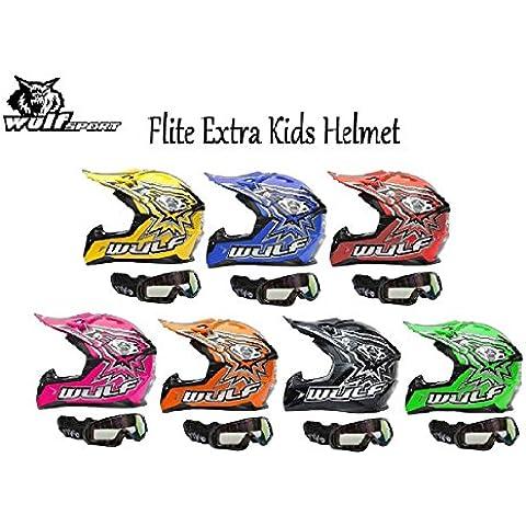 MOTO WULFSPORT FLITE CUB EXTRA NIÑOS CASCO MX Motocross Enduro Quad PIT Deporte ECE Casco ((L),