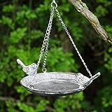 garden mile® - Mangiatoia Vintage per Uccelli Selvatici, in Metallo Anticato, con Gancio per appenderlo, Decorazione da Giardino