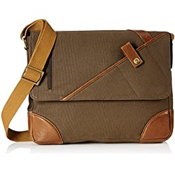 Hidesign Leather-Canvas Desert Palm and Tan Laptop Briefcase (CHEROKEE 01)