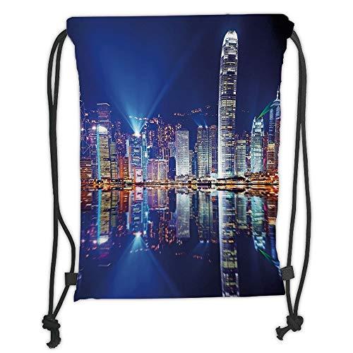 Icndpshorts City,Hong Kong Island from Kowloon Vibrant View Water Reflection Modern China,Royal Blue Orange White Soft Satin,5 Liter Capacity,Adjustable String Closur China Blue Royal Satin