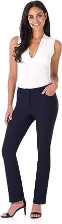 Rekucci Pantalone Dritto iconico da Donna 5 Tasche Elasticizzato Chiusura a Cerniera