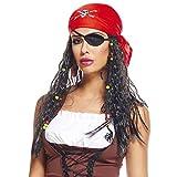AEC AQ04062 Perruque Pirate Femme avec Bandeau, Pourpre, Taille Unique
