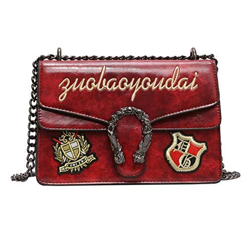 Neue einzelne Schulter tragbare Trendkette Abzeichen Damen kleine quadratische Tasche (weinrot, 24 * 17.5 * 10.5cm)