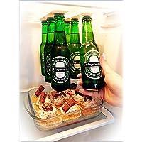Porte-bière support magnétique pour 6 bières, Économisez de l'espace et organisez des bouteilles sur le toit et les grilles du réfrigérateur - Magenesis®