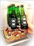Magnetischer Bier Halter/Aufhänger für 6Flaschen, spart Platz und organisieren Flaschen zu den Kühlschrank Dach und Raster–ein tolles Geschenk für alle, die gerne Trinken kaltes Bier–magenesis®