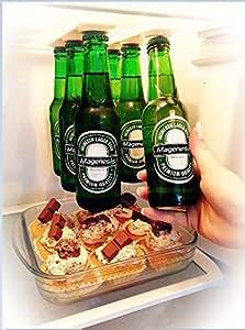 Supporto magnetico per birra/gruccia per 6bottiglie, salva spazio e organizzare bottiglie frigorifero il tetto e griglie–un regalo ideale per chi ama le bevande fredde birra–Magenesis®