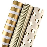 RUSPEPA Rouleau de papier d'emballage cadeau RUSPEPA - Impression dorée pour anniversaire, vacances, mariage, cadeau de naissance - 3 rouleaux - 76,2 cm X 304,8 cm par rouleau