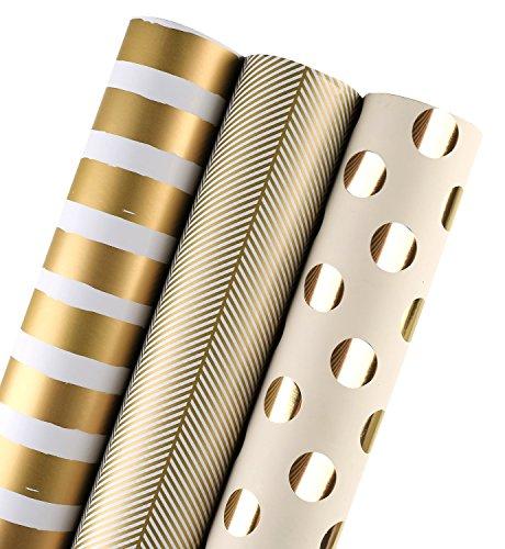 errolle - Golddruck Für Geburtstag, Urlaub, Hochzeit, Babyparty Geschenkpapier - 3 Rollen - 76 X 305 cm Pro Rolle ()