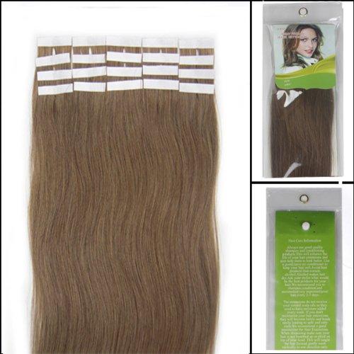 45,7 cm Bandes véritable Extensions de cheveux humains Droit Couleur 12 Marron clair 40 g Lot de 20 Beauté Cheveux Style