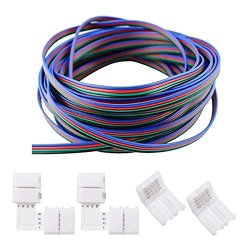 ZITFRI 12M LED Streifen Verlängerungskabel 4 Polig Verbindungskabel 2 x L-Form Konnektor 2 x 4-polig Verbinder für 5050 3528 RGB 10mm LED Strip Verbindung Kit -
