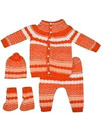 Little Bunnies Unisex Wool Clothing Set (Orange, 3 - 6 Months)