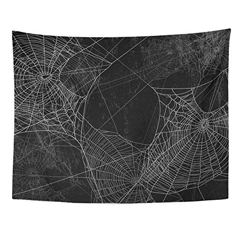 Monicago Wandteppiche, Tapestry Wall Hanging, White Spooky Spider Silhouette Against Black Wall Halloween Dark Creepy Scary 60