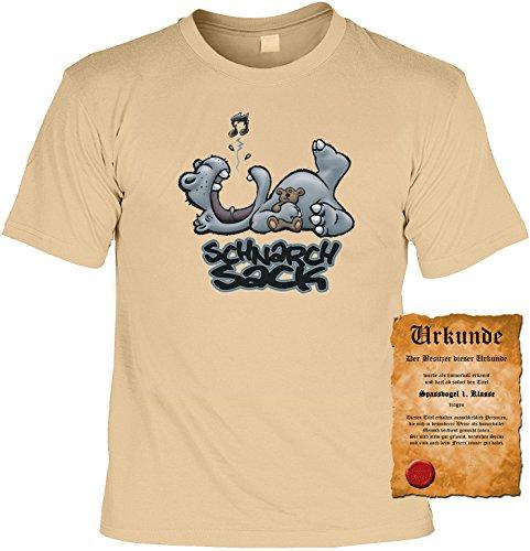 Witziges Spaß-Shirt + gratis Fun-Urkunde: Schnarchsack Sand