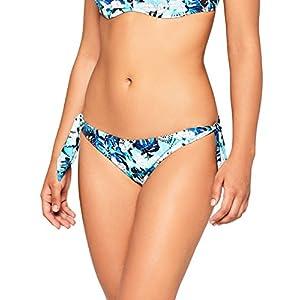 Iris & Lilly Slip Bikini a Vita Bassa con Laccetti Laterali Donna, Blu (Blue Leaf), Small