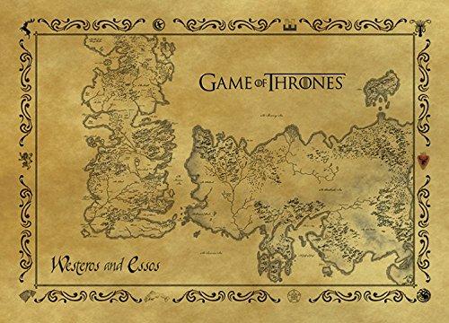 Juego De Tronos - Mapa Antiguo De Westeros Y Essos, Estilo Vintage Tarjeta Postal (15 x 10cm)