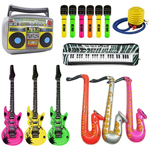 Inflatable Musical Instruments Rock Star Toy Set - 14 Inflatables Saxophone Microphone Guitar Keyboard Piano Radio Props Balloons Party Supplies Musical Instruments Toys for Party Favors with Pump (Birthday Rockstar Happy)