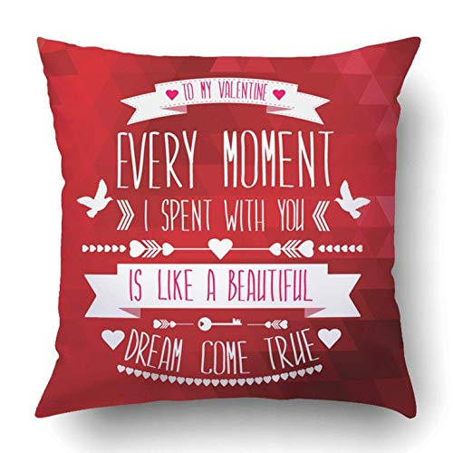 Xukmefat Pink Valentine Valentine's Day Red Love Ribbon Beautiful Happy Romance Heart 18 x 18 Inch Square with Hidden Zipper Polyester Home Sofa Cushion Decorative Pillowcase