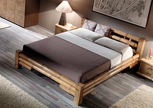 Antike Bett Mit Matratze (Möbel Bressmer Hochwertiges Bambus Bett 140x200 TABANAN | Bambusbett 140 x 200 Natur Braun | Bambusbetten mit Auflagesystem handelsübliche Lattenroste u. Matratzen)