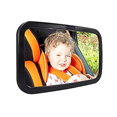 Rear View Baby Mirror, DLAND Perfect Pivot for Perfect View of Baby in Car Adjustable Back Seat Mirror with Shatter-Proof Safety Surface & Premium High Quality