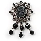 Ciondolo argento antico-Spilla cammeo con perle di imitazione, colore: Nero