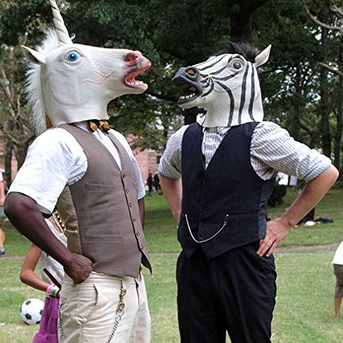 Joycececi - Maschera divertente e creativa a forma di testa di unicorno, in lattice, per Halloween e feste in costume