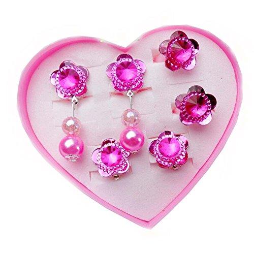 Rosa Blumen-Reihen-Kinderring und Ohr-Ring-justierbarer Schmuck mit rosa Schmuckkästchen