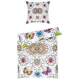 Melli Mello Set Copripiumino singolo e federa per bambini Belicia con personaggi e farfalle colorati, 200x 135x 0,5cm, Multicolore