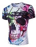 YCHENG Camisetas para Hombre Manga Corta 3D Digital Colorido Cráneo Impresa Hippie T-shirt