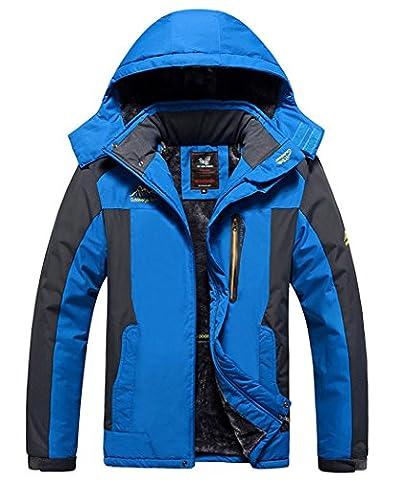HOUWEN Men's Outdoor Waterproof Mountain Jacket Fleece Windproof Ski Jacket Blue/S