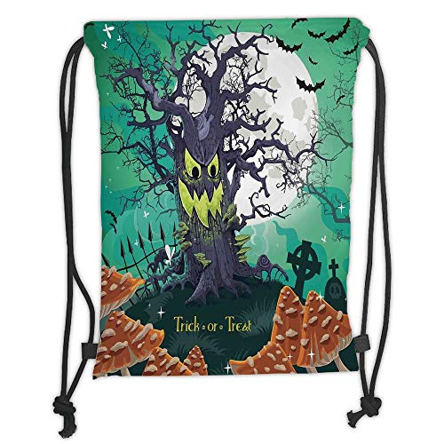LULUZXOA Gym Bag Printed Drawstring Sack Backpacks Bags,Halloween Decorations,Trick or Treat Dead Forest with Spooky Tree Graves Big Kids Cartoon Art,Multi Soft Satin,