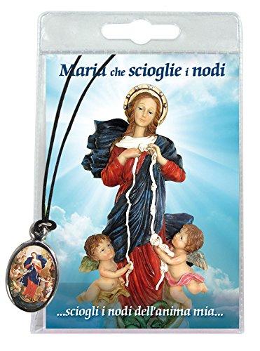 Ferrari & Arrighetti Medalla Virgen Desatanudos con cordón y oración en Italiano