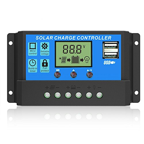 ALLPOWERS 20A Solar Ladegerät Controller Solar Panel Batterie Intelligente Regler mit USB Port Display 12V/24V Usb-12-volt-batterie