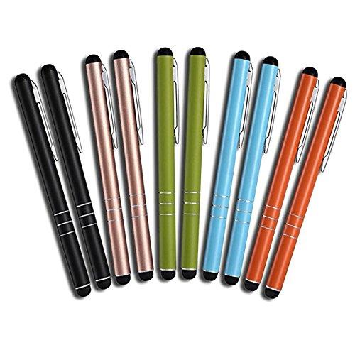 MobiLinyi 10 Stück Premium Eingabestift Touchstift Stylus Pen für Apple iPhone ipad Air Pro Samsung Galaxy Huawei P7 P8 P9 P10 und alle Tablets Smartphones, Farbe: schwarz Gold grün blau orange