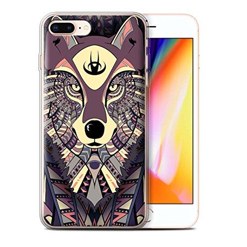 Coque Gel TPU de STUFF4 / Coque pour Apple iPhone 7 Plus / Loup-Bleu Design / Motif Animaux Aztec Collection Loup-Cramoisi
