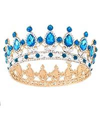 Corona de novia dorada Santfe, con brillantes decorativos, tiara, diadema