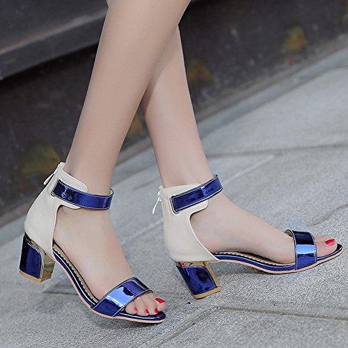 Mee Shoes Damen süß modern Mischfarbe ankle strap Lackleder dicker Absatz Knöchelriemchen open toe Reißverschluss Sandalen Blau
